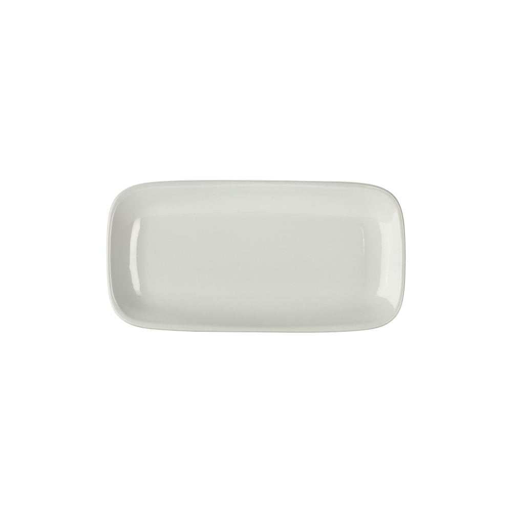 Genware Genware Porcelain Rectangular Rounded Edge Plate 29 5 x 15cm   Box  of 6